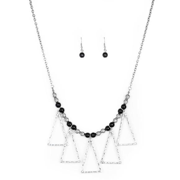 Black Terra Nouveau Beads Silver Necklace Earrings